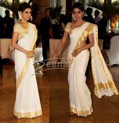 Asin in white Kerala Saree ~ White And Gold Saree, White Sari, White Gold, Kerala Saree, Indian Sarees, Kerala Traditional Saree, Set Saree, Kasavu Saree, Beauty Tips For Girls