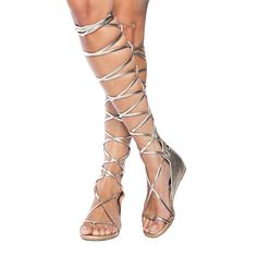 ViViKiKi Women's Open Toe Strappy Strap Gladiator Crisscross Knee-High Zip Closure Flat Sandals Summer Shoes Silver US14