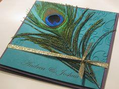 blue peacock wedding invitations