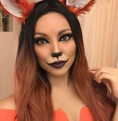 43 Pretty and Easy Halloween Makeup Looks - Halloween - Fox Halloween Costume, Pretty Halloween, Theme Halloween, Halloween Makeup Looks, Easy Halloween, Women Halloween, Halloween Outfits, Bear Makeup, Animal Makeup