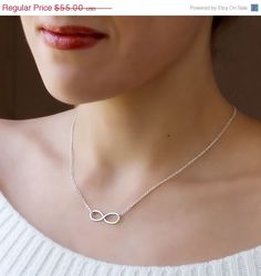 """Christmas In July SALE Sterling Silver Infinity Necklace - Handmade Sterling Silver Necklace - """"Forever and Ever"""" on Etsy, £26.36"""