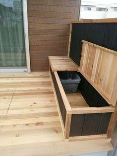 Back Garden Design, Deck Design, Balcony Furniture, Diy Outdoor Furniture, Diy Wood Projects, Outdoor Projects, Wood Deck Plans, Diy Storage Bench, Deck Storage