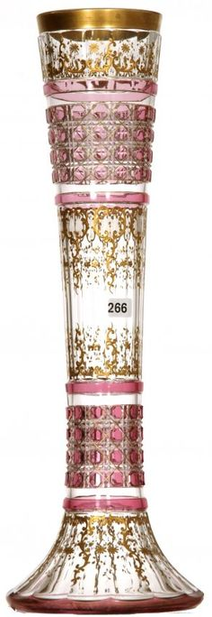 """19 1/2"""" CRANBERRY CUT TO CLEAR ART GLASS VASE, cane pattern bands with gold enamel floral decor"""