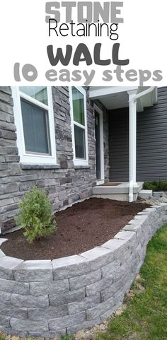 10 easy steps for a diy retaining wall for flower bed. Perfect spring or summer project idea for landscaping your front yard for curb appeal and beautiful garden. #flowerbed #diy #howtobuild #frontyard #stone #retainingwall