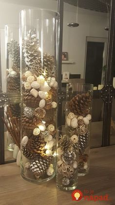 Christmas decoration - Christmas vases with casseroles ? Christmas decoration – Christmas vases with casseroles ? Christmas decorations and interi - Christmas Vases, Christmas Pine Cones, Christmas Table Centerpieces, Dollar Store Christmas, Indoor Christmas Decorations, Rustic Christmas, Simple Christmas, Christmas Home, Christmas Crafts