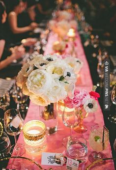 Neato! - pink linens | CHECK OUT MORE GREAT PINK WEDDING IDEAS AT WEDDINGPINS.NET | #weddings #wedding #pink #pinkwedding #thecolorpink #events #forweddings #ilovepink #purple #fire #bright #hot #love #romance #valentines #pinky