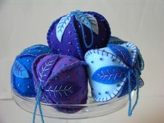 Felt Ornaments - Materials: Felt, Cotton floss, Glass beads, Recycled cotton stuffing, Polyester Lame, Love