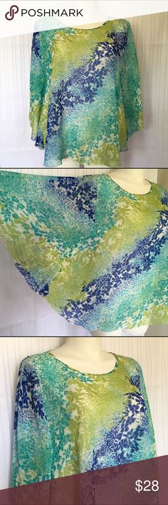 NWOT sheer teal blue, aqua & spring green top NWOT sheer teal blue, aqua, spring green & white poncho/tunic top/shirt. Also makes a great swim suit cover up. Flowing butterfly sleeves. Plus size 1X from Apt 9 but with the free cut, would also fit a 2X/18/20 comfortably. 100% polyester. Measurements available upon request. No holds No Lowball Offers No Trades ✅Please submit reasonable offers via the offer button or  bundle & save! Apt. 9 Tops Blouses