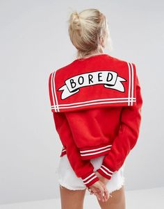 Buy Lazy Oaf Varsity Jacket With Bored Badge at ASOS. Get the latest trends with ASOS now. Simple Outfits, New Outfits, Cute Outfits, Fashion Outfits, Party Outfits, Lazy Oaf, Asos, Red Bomber Jacket, Embroidered Jacket