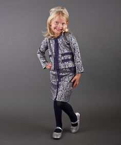 This Mia Belle Baby Silver & Slate Winter Blazer & Skirt - Toddler & Girls by Mia Belle Baby is perfect! #zulilyfinds