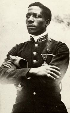 Eugene Bullard, the first African American combat pilot. Born in Georgia, Bullard left for Europe in his teens (he later claimed to have seen his father narrowly escape lynching). He worked as a boxer in Paris, then joined the French Army during World War I. Bullard was severely wounded at Verdun, and after he recovered he joined the French Air Service.
