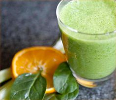 Iron Vitamin C Boosting Smoothie    * 2 Handfuls of Spinach  * 1 Orange, Juiced  * 1 Rib  Celery  * 1 Frozen Banana  * 1 C Water or Coconut Water. TIPS    1. Spinach is high in iron, best absorbed when paired w Vitamin C.  2. Oranges are high in calcium .  3. Celery is an excellent source of vitamin B2, which helps the nervous system function properly.  4. You can also try this recipe as a juice, minus the coconut water and banana. Just run your washed veggies and oranges through your…