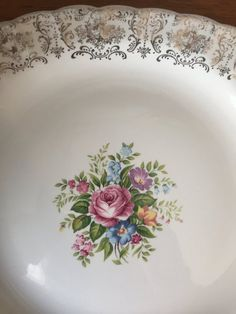 """Items similar to American Limoges """"Rosalie"""" Serving Platter, Vintage Tray, Warranted 22 karat Gold Border, Floral Ceramic Earthenware Dish, on Etsy Beautiful Bouquet Of Flowers, Scroll Pattern, Serving Platters, Earthenware, Yellow Flowers, Etsy Vintage, Pottery, Fancy, Ceramics"""