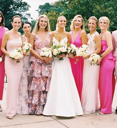 These 'Pretty in Pink' Mix-and-Match Bridesmaids Dresses are Everything Best Picture For Bridesmaid Outfit short For Your Taste You are looking for something, and it is going to tell you exactly what Hot Pink Bridesmaids, Floral Bridesmaid Dresses, Bridal Party Dresses, Bridesmaid Outfit, Colored Wedding Dresses, Wedding Bridesmaids, Wedding Bouquet, Marie, Magenta