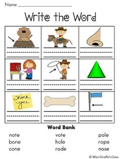 Long o o_e worksheets and literacy stations