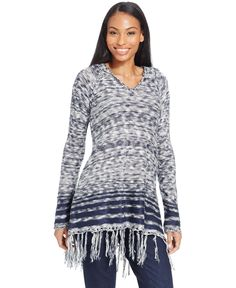 Style&co. Marled Fringe Hoodie Sweater, Only at Macy's