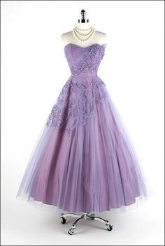 Vintage Prom Dress, Purple Prom Gowns, Beading Crystals Prom Dresses