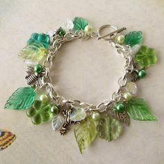 Spring Green Garden Charm Bracelet - Silver and Greens £15