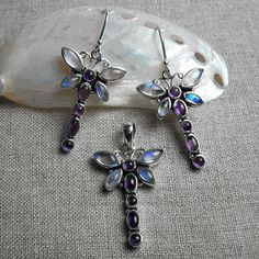 Dragonfly Dreams Pendant + Earrings Set - Iolite & Rainbow Moonstone