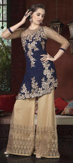 3ca5e2320eb Net Party Wear Salwar Kameez in Blue with Thread work