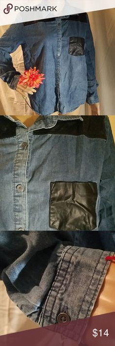 a74dbbb5 Forever 21 Top Forever Button down Jean/leather look Long sleeve Left  breast pocket Cotton, polyester, rayon blend Size M Worn once Forever 21  Tops Button ...