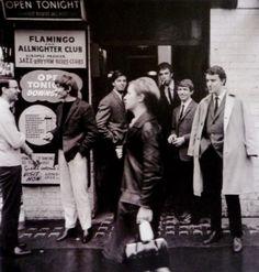 Mods outside The Flamingo Club, 1969s.