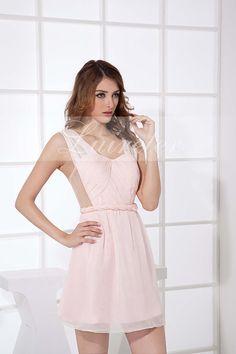 Romantic Chiffon Imitated Silk and Tiered Trumpet Short Length Spaghetti Straps Prom Dress