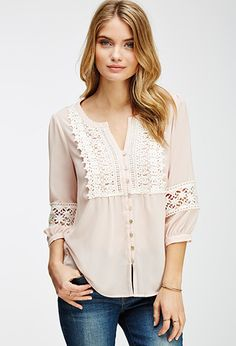Crochet Button-Front Top | FOREVER21 - 2000061799
