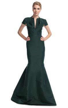 Forest Green Short Sleeve Gown by Zac Posen for Preorder on Moda Operandi