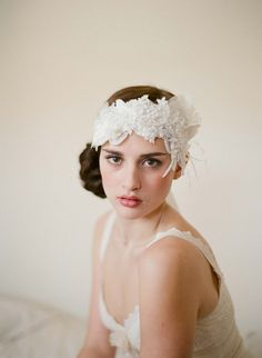 Flapper headpiece in whites - Style # 249
