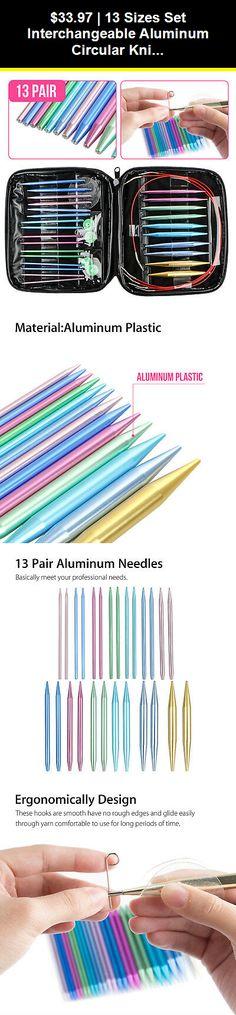 13 Sizes//Set Interchangeable Aluminum Circular Knitting Needle Sets Colorful SS