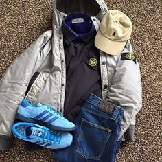 Away Days - Stone Island and Tahitis Bape, Casual Wear, Casual Outfits, Football Casuals, Moda Casual, Herren Outfit, Outfit Grid, Mod Fashion, Clothing Items