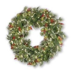 National Tree Co. Wintry Pine Pre-Lit Wreath Size: 24""