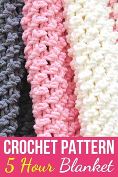 Free Crochet Baby Blanket Pattern - Crochet Dreamz - If you love working with the squishy Bernat Blanket yarn, you will love this quick and easy crochet - Crochet Baby Blanket Free Pattern, Crochet Stitches Patterns, Free Crochet, Crochet Afghans, Baby Blankets, Quick Crochet Blanket, Crochet Stitches For Blankets, Crochet Throws, Baby Afghans