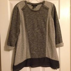 """Color Blocked 3/4 Chiffon Hem Sweater Grey color blocked sweater with 3/4 sleeves. Chiffon ruffle hem, 3 snaps at each side of the collar. Approximately 26"""" long. 55% cotton 45% polyester. Style & Co Sweaters Crew & Scoop Necks"""
