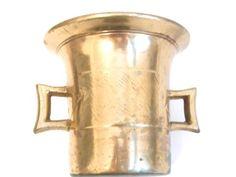 Brass-Mortar-Pestle-Vintage-Folk-Art-Hand-Tooled-Diamond-Ear-Handles