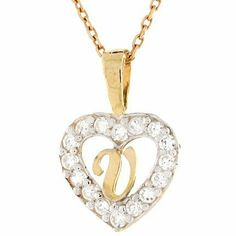 10k Gold Letter 'V' CZ Initial Heart Charm Pendant Jewelry Liquidation. $78.51. Made with Real 10k Gold. Made in USA!
