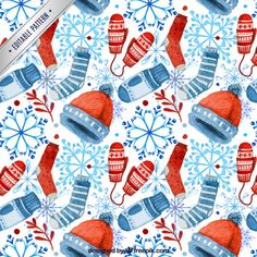 Watercolor winter accessories pattern Free Vector