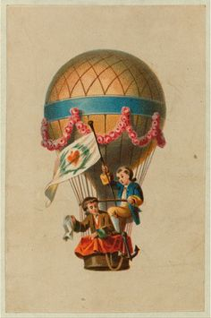 [Card shows two children ascending in the basket of a balloon waving a flag and handkerchief]