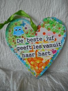 Hart voor de juf Thank You Teacher Gifts, Teacher Appreciation Gifts, Your Teacher, Present Gift, Gift List, Hobbies And Crafts, Diy And Crafts, Diy For Kids, Crafts For Kids