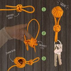 A beginner friendly guide to making a DIY Paracord Keychain for those new to the art of paracord creations or who just want a neat looking cheat sheet. Previous Post Next Post Lanyard Knot, Paracord Keychain, Diy Keychain, Paracord Bracelets, Rope Knots, Macrame Knots, Rope Crafts, Diy And Crafts, Monkey Fist Knot