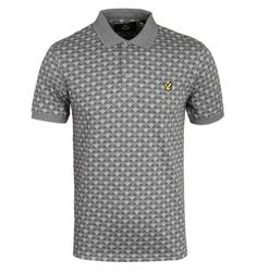 Lyle & Scott Jacquard Charcoal Marl Short Sleeve Polo Shirt