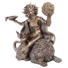 "Made from Cold Cast Resin (Bronze like finish) Size: 7 1/2"" x 4"" x 8"" Design by Derek W. Frost Rhea was one of the Titans, daughter of Uranus and Gaea. She was the sister and wife of Cronus, also a Ti"