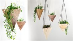 Fernweh Woodworking has created a collection of modern, geometric hanging wood planters, made from solid pieces of real wood.