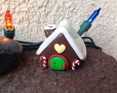 Miniature Polymer Clay Gingerbread House- Christmas Decor House - Miniature Garden - Fairy Garden