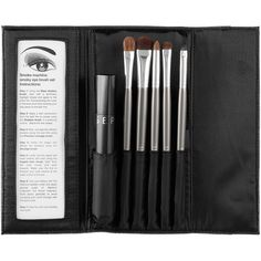 SEPHORA COLLECTION Smoke Machine Smokey Eye Brush Set (130 BRL) ❤ liked on Polyvore featuring beauty products, makeup, makeup tools, makeup brushes, fillers, beauty, accessories, black, backgrounds and phrase