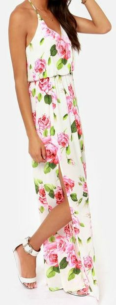 Say No Amore Ivory Floral Print Maxi Dress - Lulus