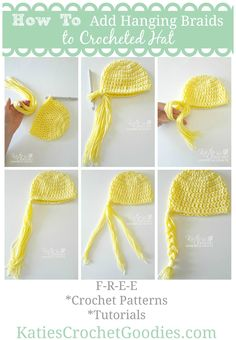 How to Add Braids to Crochet or Knit Hat by Katie's Crochet Goodies