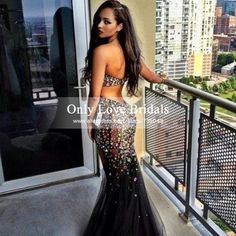 Vestido De Festa Amazing Sweetheart Backless Colorful Crystal Sequined See Through Black Tulle Mermaid Prom/Evening Dresses