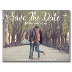 This template can be customized on your own. It's so easy! This save the date postcard template features a fun, whimsical, elegant cursive script.